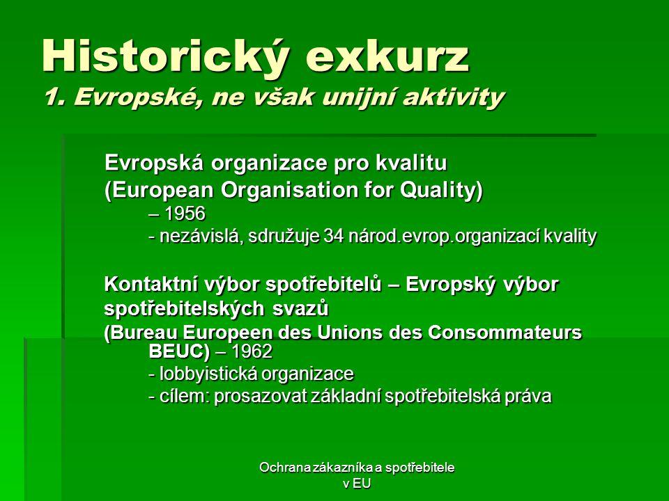 Historický exkurz 1. Evropské, ne však unijní aktivity
