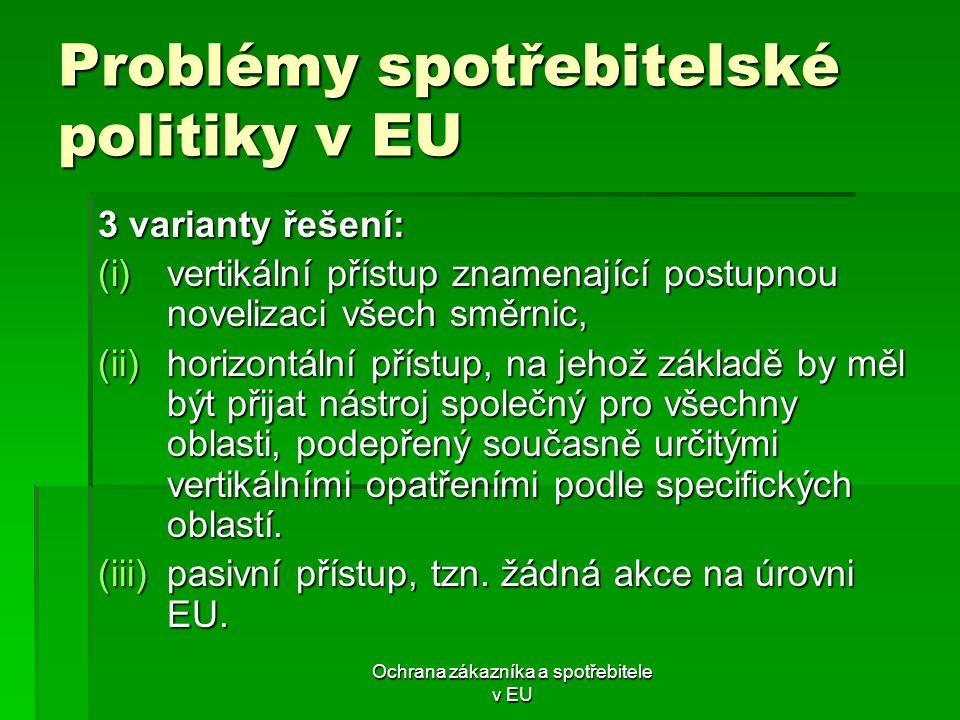 Problémy spotřebitelské politiky v EU