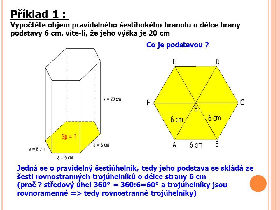 Příklad 1 : Vypočtěte objem pravidelného šestibokého hranolu o délce hrany podstavy 6 cm, víte-li, že jeho výška je 20 cm.