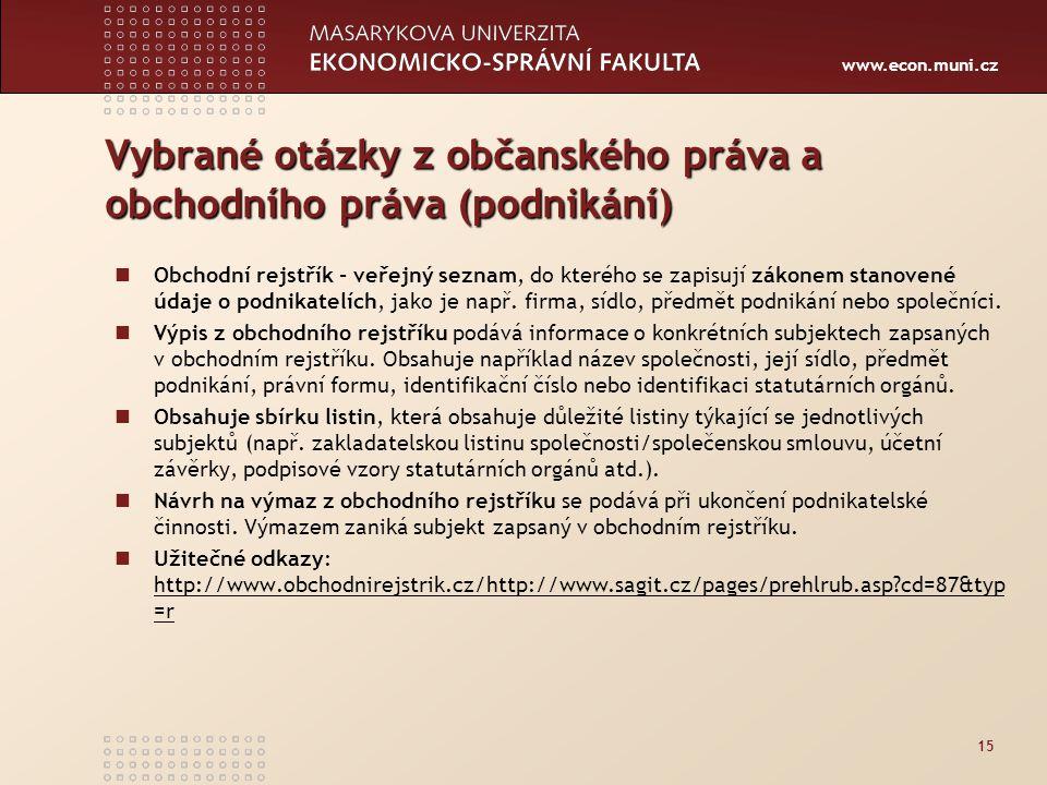 Vybrané otázky z občanského práva a obchodního práva (podnikání)