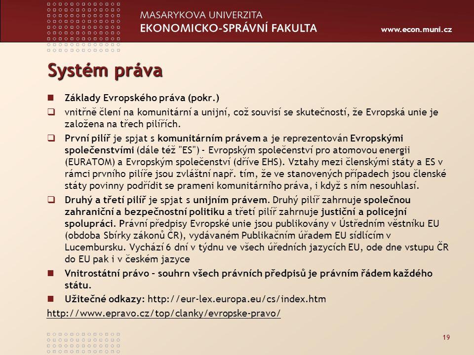 Systém práva Základy Evropského práva (pokr.)