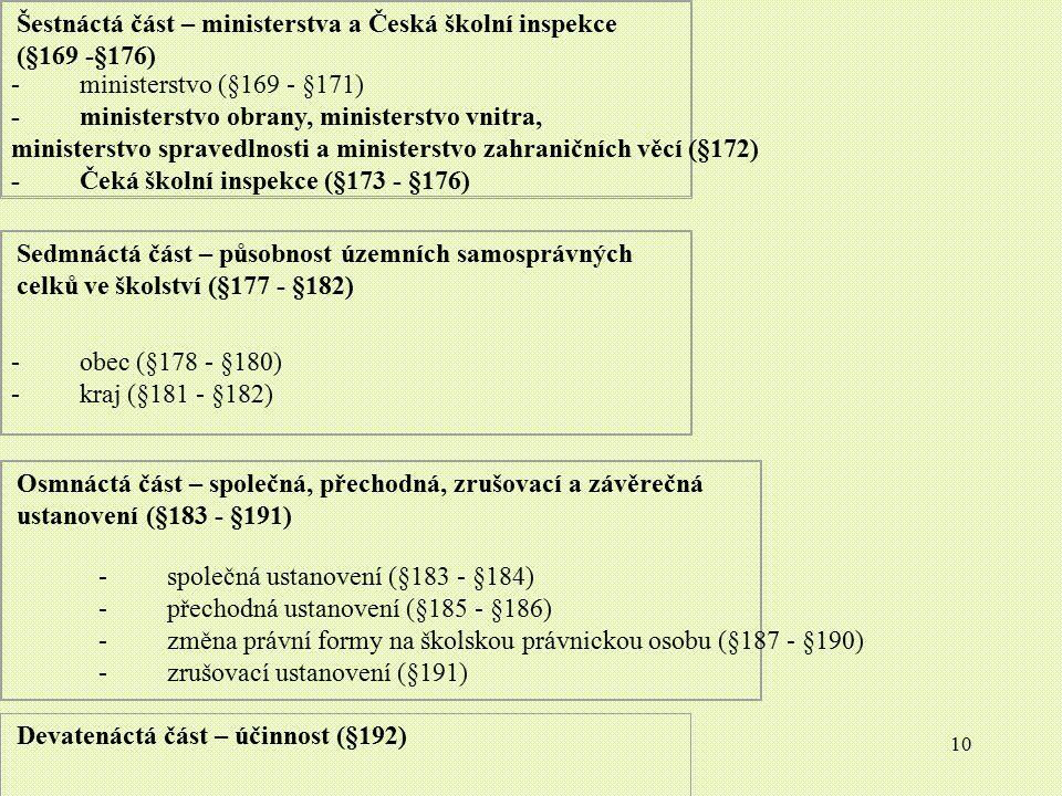 Šestnáctá část – ministerstva a Česká školní inspekce (§169 -§176)