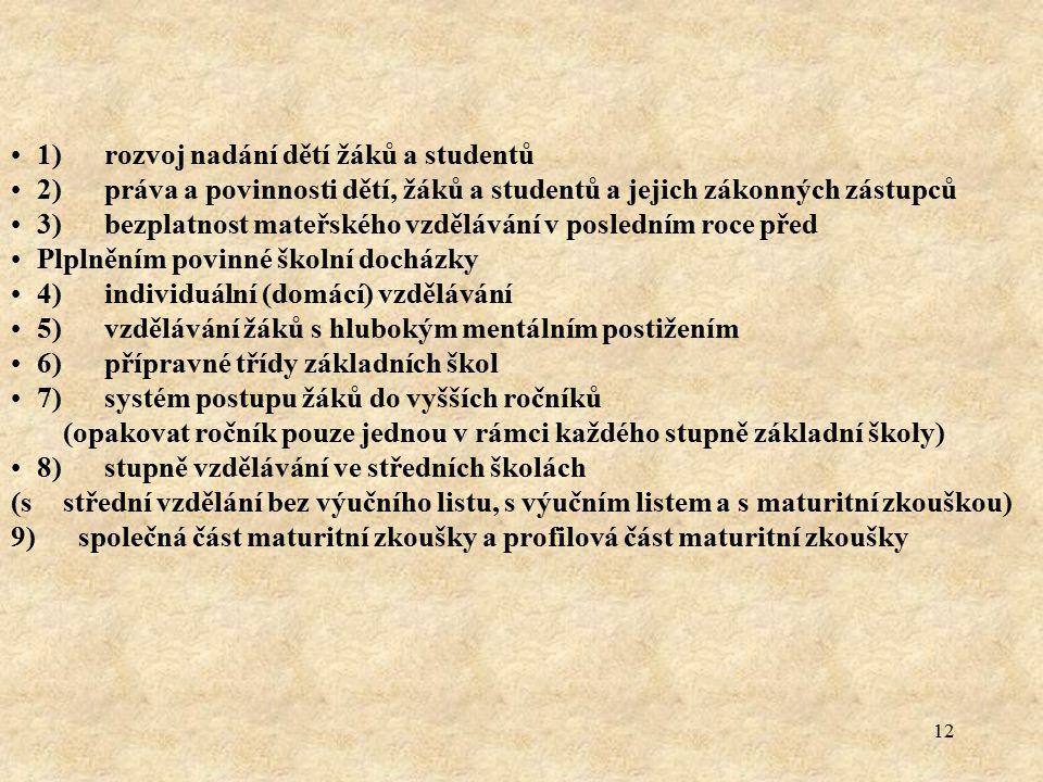 1) rozvoj nadání dětí žáků a studentů