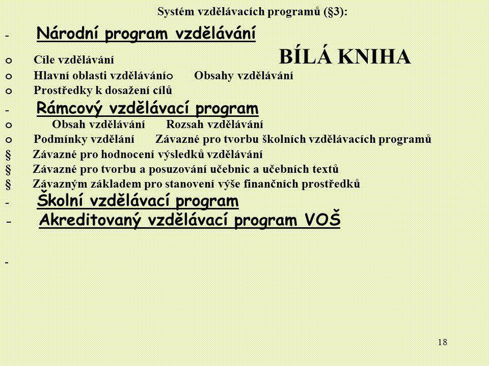 Systém vzdělávacích programů (§3):