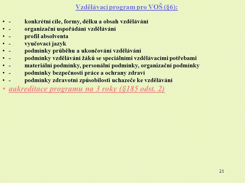 Vzdělávací program pro VOŠ (§6):