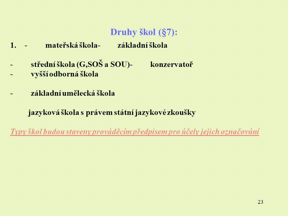 Druhy škol (§7): - mateřská škola- základní škola