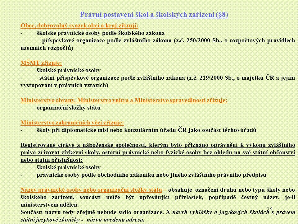 Právní postavení škol a školských zařízení (§8)