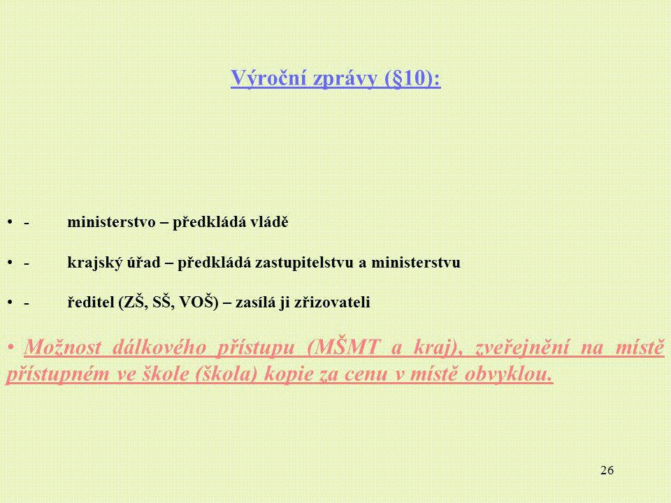 Výroční zprávy (§10): - ministerstvo – předkládá vládě. - krajský úřad – předkládá zastupitelstvu a ministerstvu.