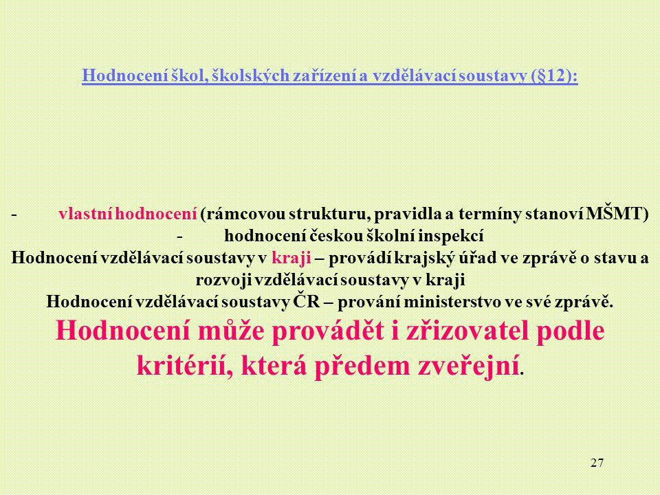 Hodnocení škol, školských zařízení a vzdělávací soustavy (§12):
