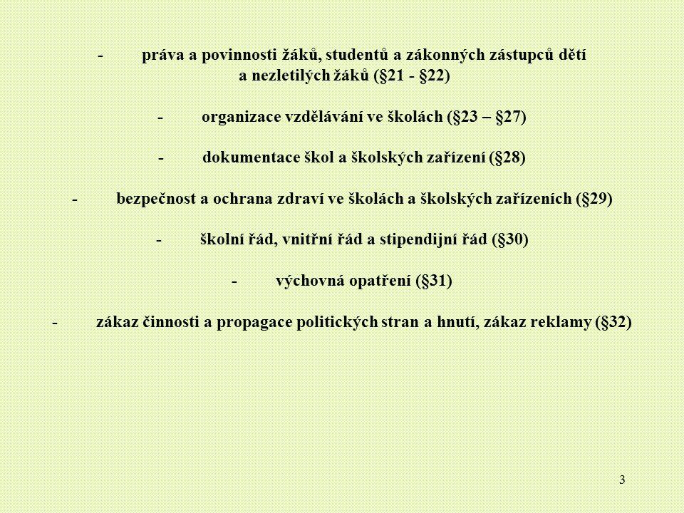 - práva a povinnosti žáků, studentů a zákonných zástupců dětí