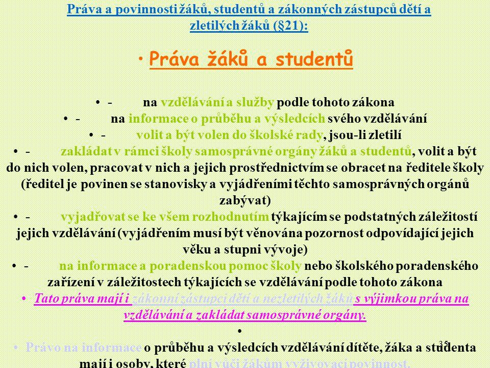 Práva a povinnosti žáků, studentů a zákonných zástupců dětí a zletilých žáků (§21):