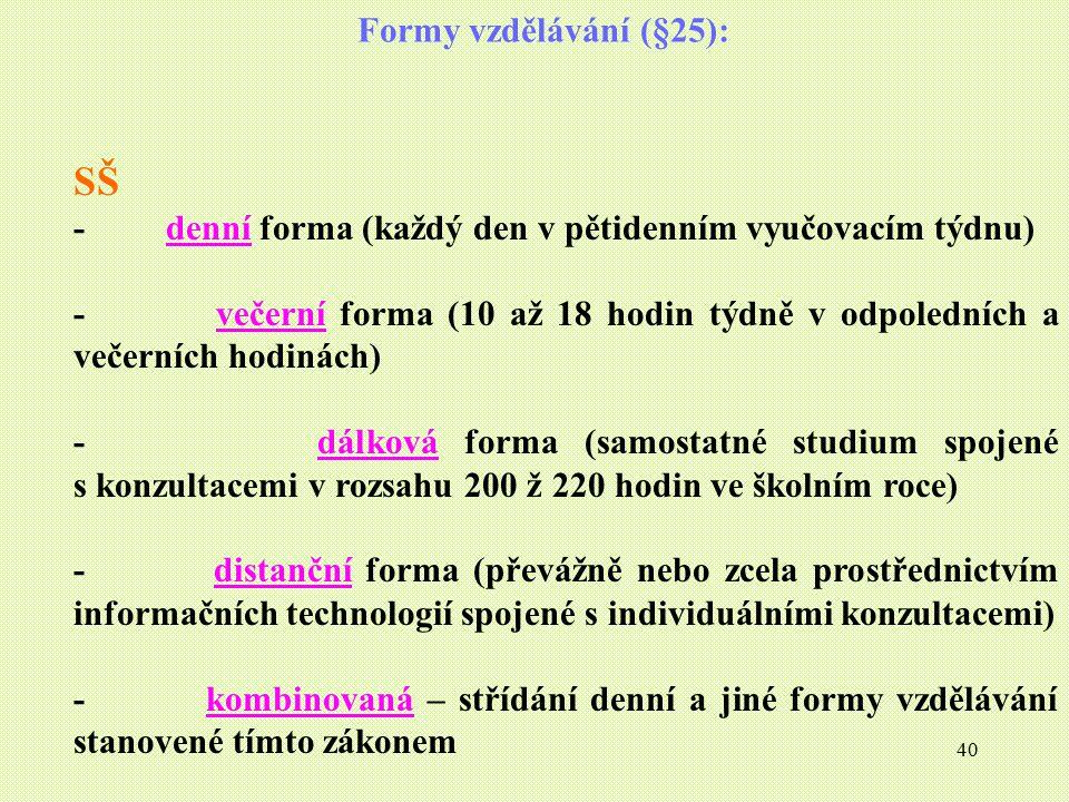 SŠ Formy vzdělávání (§25):