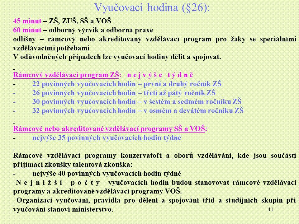 Vyučovací hodina (§26): 45 minut – ZŠ, ZUŠ, SŠ a VOŠ