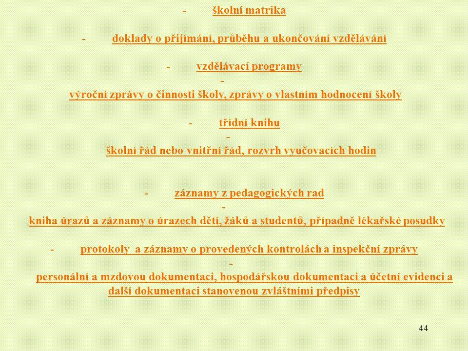 - doklady o přijímání, průběhu a ukončování vzdělávání