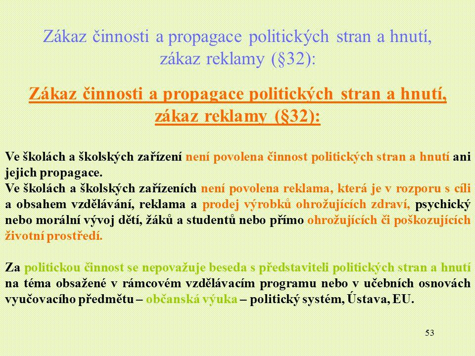 Zákaz činnosti a propagace politických stran a hnutí, zákaz reklamy (§32):