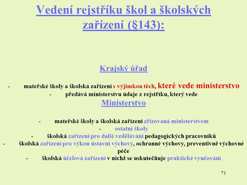Vedení rejstříku škol a školských zařízení (§143):