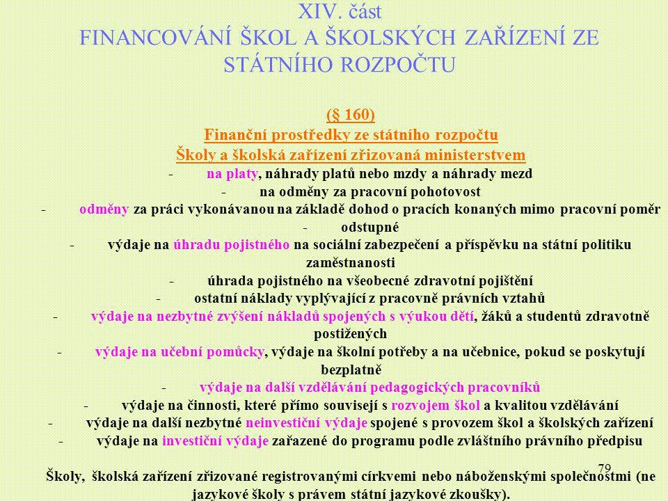 XIV. část FINANCOVÁNÍ ŠKOL A ŠKOLSKÝCH ZAŘÍZENÍ ZE STÁTNÍHO ROZPOČTU