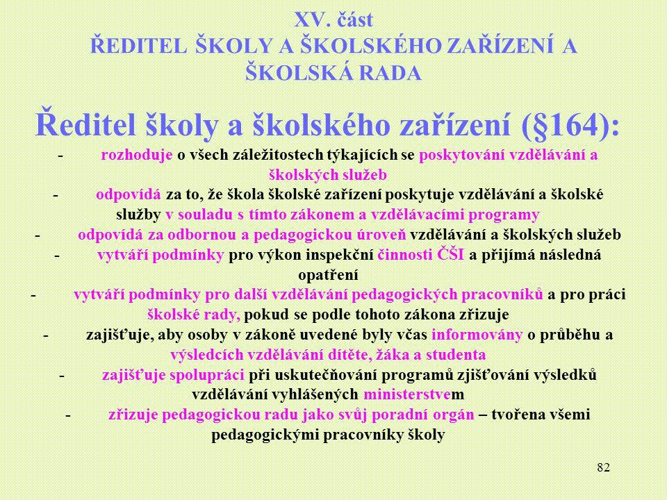 XV. část ŘEDITEL ŠKOLY A ŠKOLSKÉHO ZAŘÍZENÍ A ŠKOLSKÁ RADA
