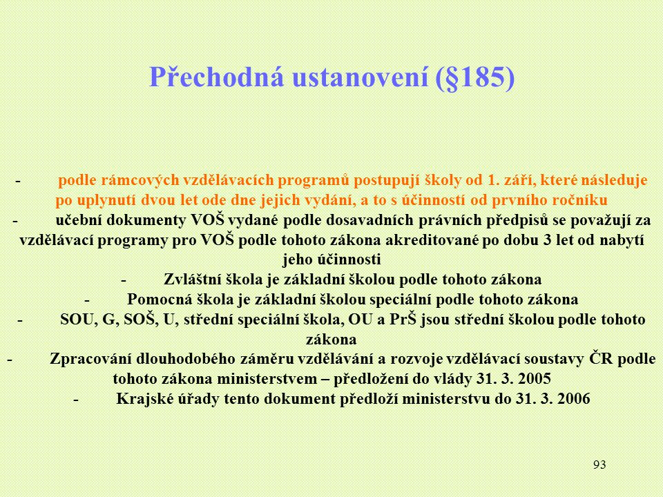 Přechodná ustanovení (§185)