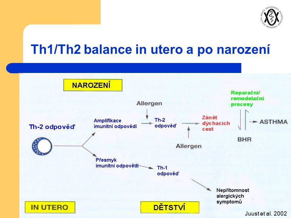 Th1/Th2 balance in utero a po narození