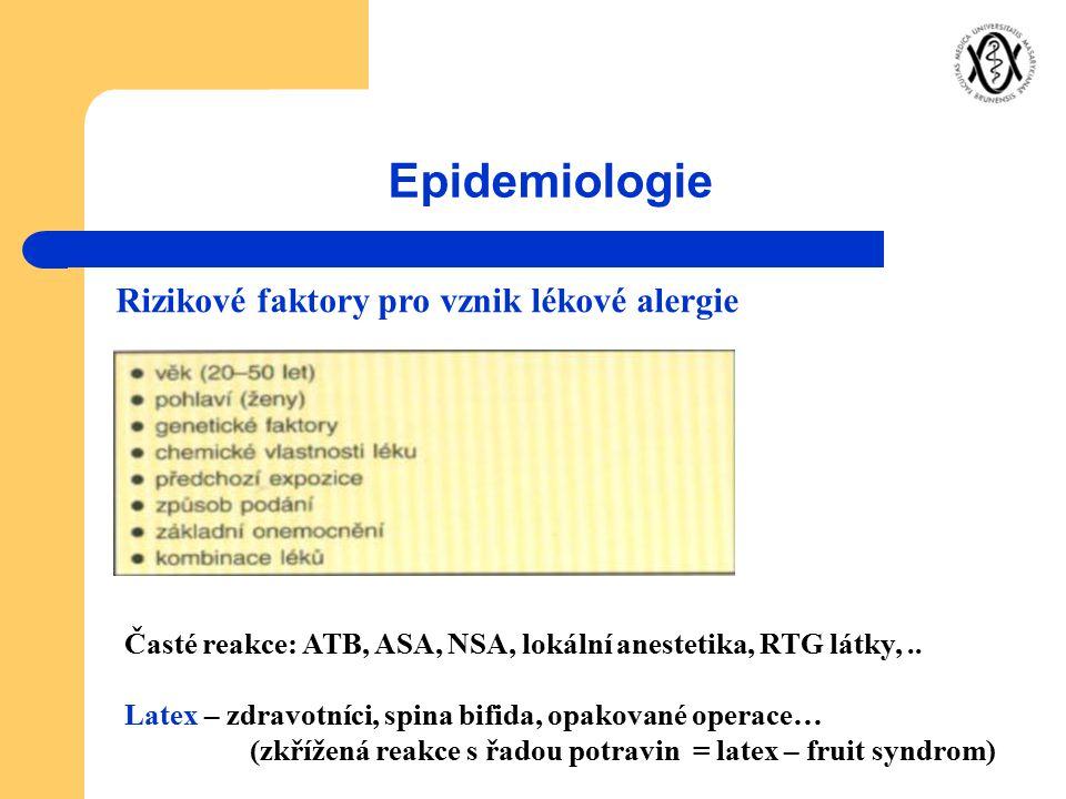 Epidemiologie Rizikové faktory pro vznik lékové alergie