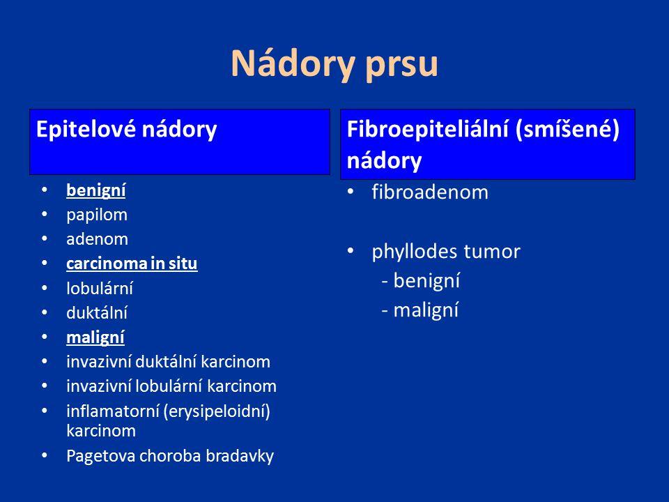 Nádory prsu Epitelové nádory Fibroepiteliální (smíšené) nádory