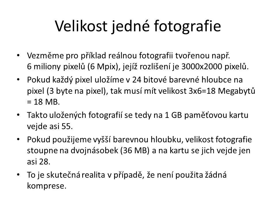 Velikost jedné fotografie
