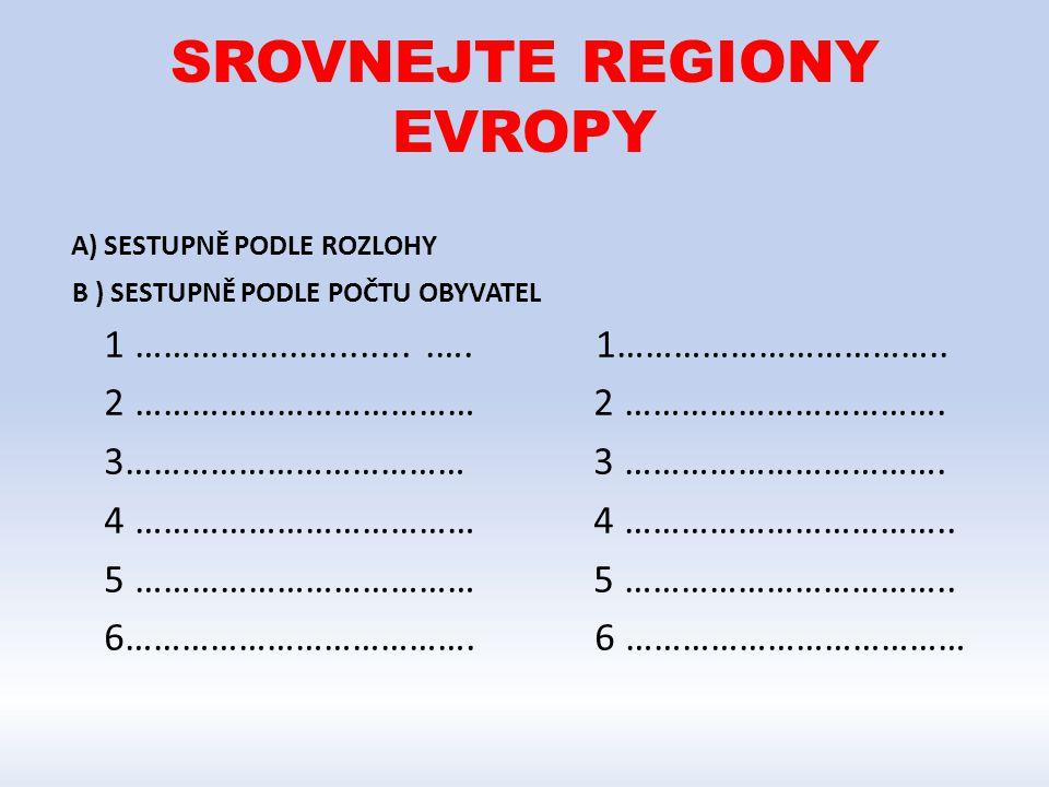 SROVNEJTE REGIONY EVROPY
