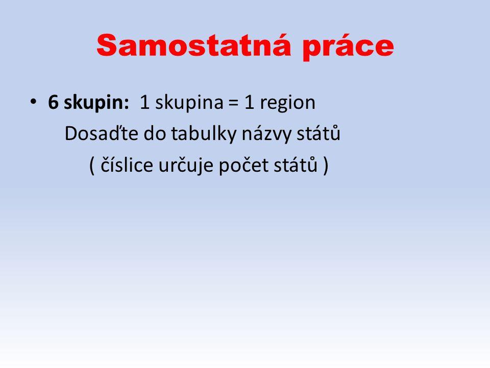 Samostatná práce 6 skupin: 1 skupina = 1 region