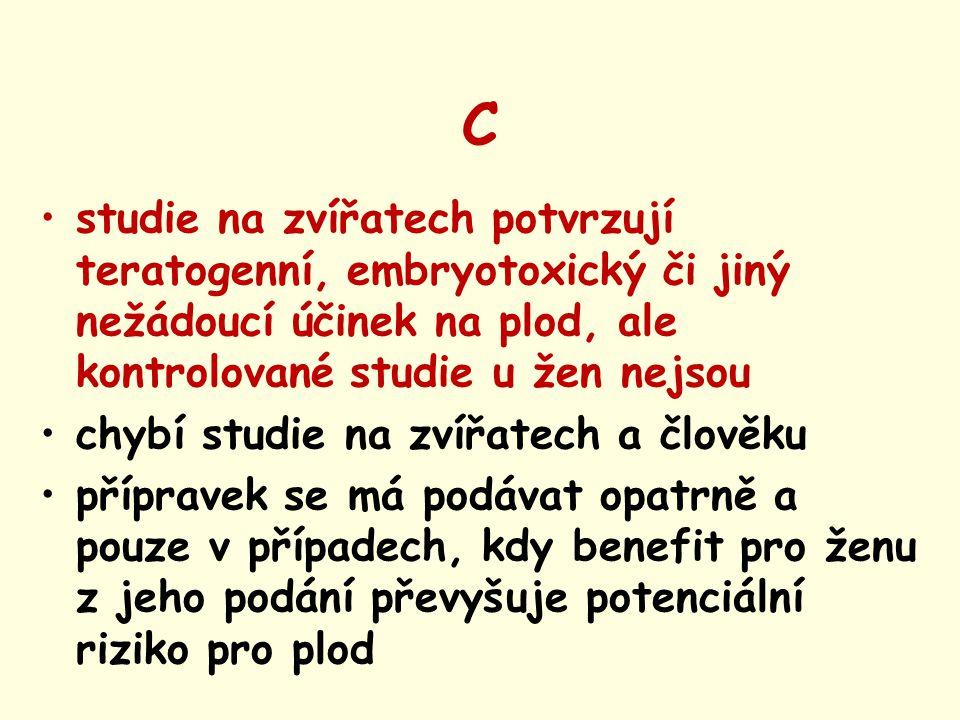 C studie na zvířatech potvrzují teratogenní, embryotoxický či jiný nežádoucí účinek na plod, ale kontrolované studie u žen nejsou.