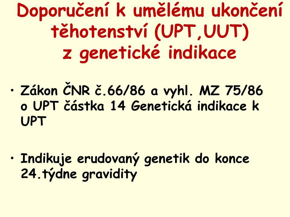 Doporučení k umělému ukončení těhotenství (UPT,UUT) z genetické indikace