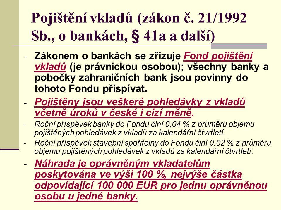 Pojištění vkladů (zákon č. 21/1992 Sb., o bankách, § 41a a další)