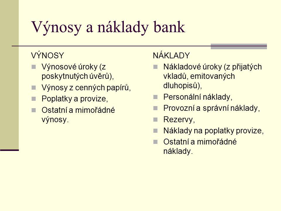 Výnosy a náklady bank VÝNOSY Výnosové úroky (z poskytnutých úvěrů),