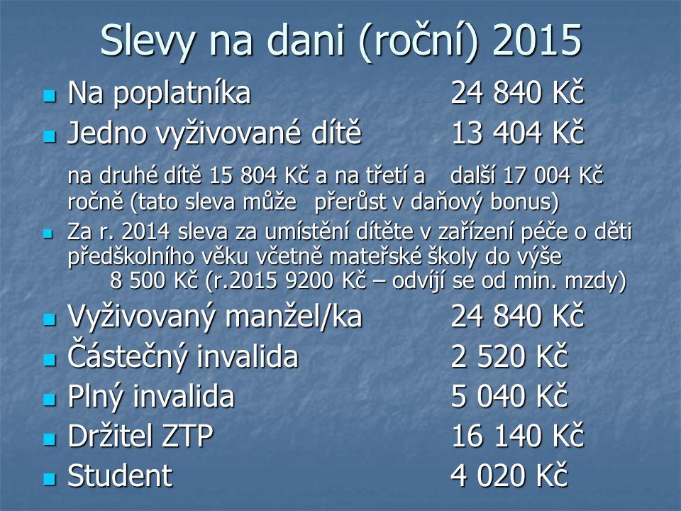 Slevy na dani (roční) 2015 Na poplatníka 24 840 Kč