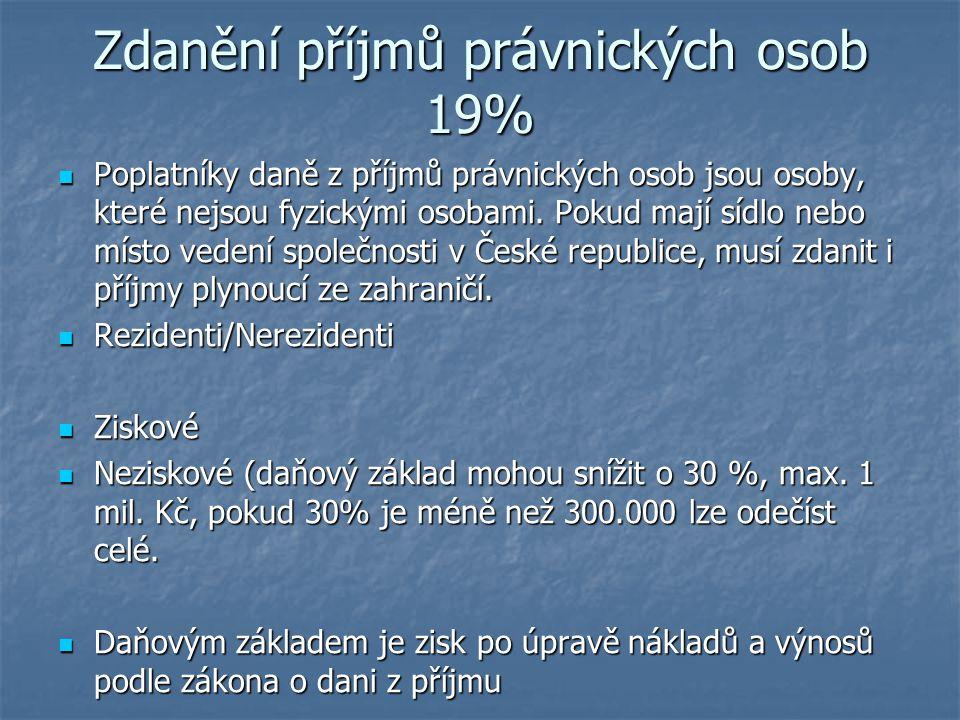 Zdanění příjmů právnických osob 19%