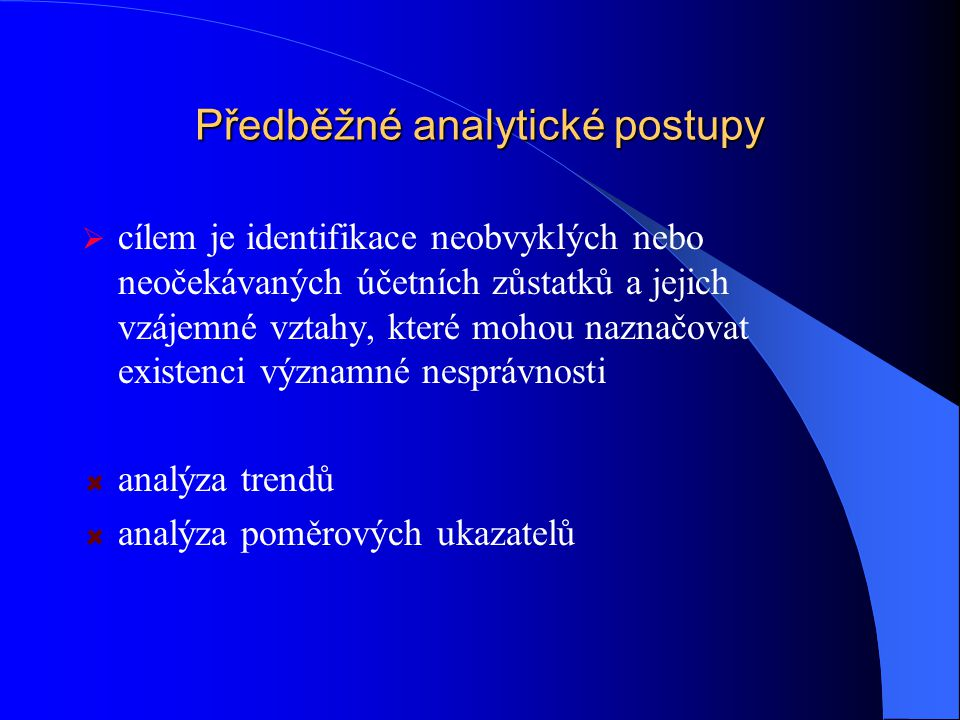 Předběžné analytické postupy