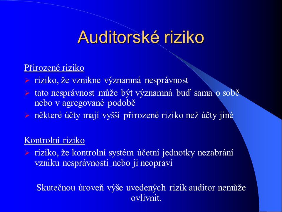 Skutečnou úroveň výše uvedených rizik auditor nemůže ovlivnit.