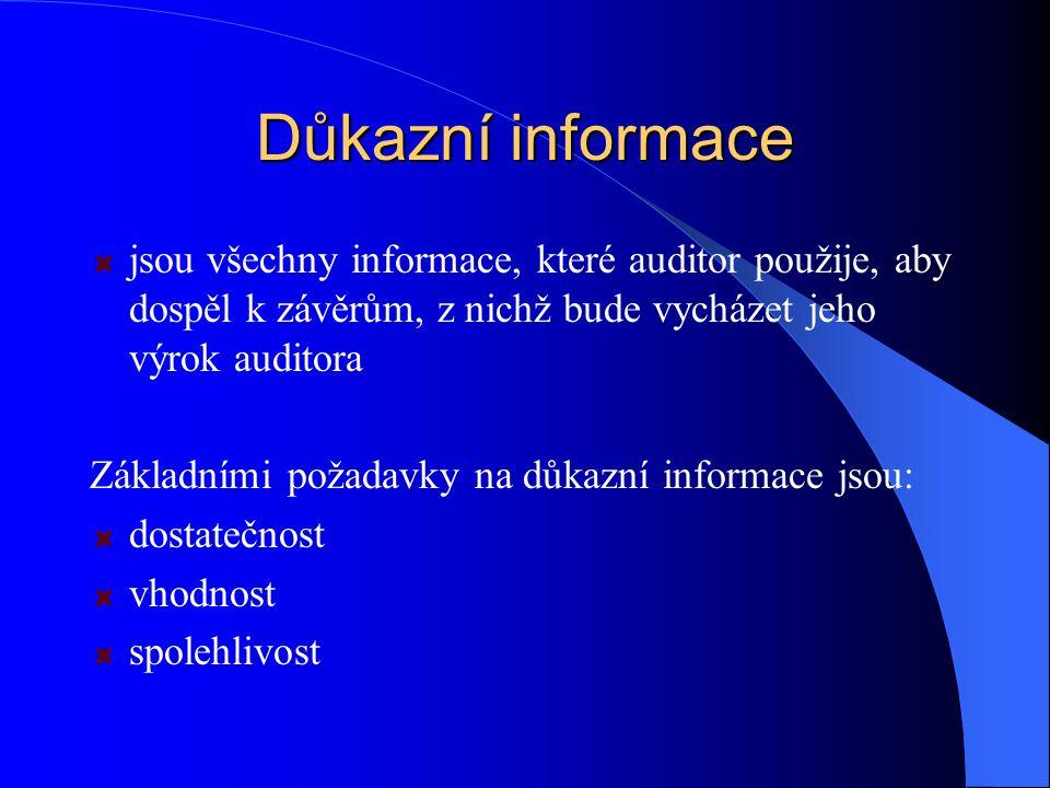 Důkazní informace jsou všechny informace, které auditor použije, aby dospěl k závěrům, z nichž bude vycházet jeho výrok auditora.