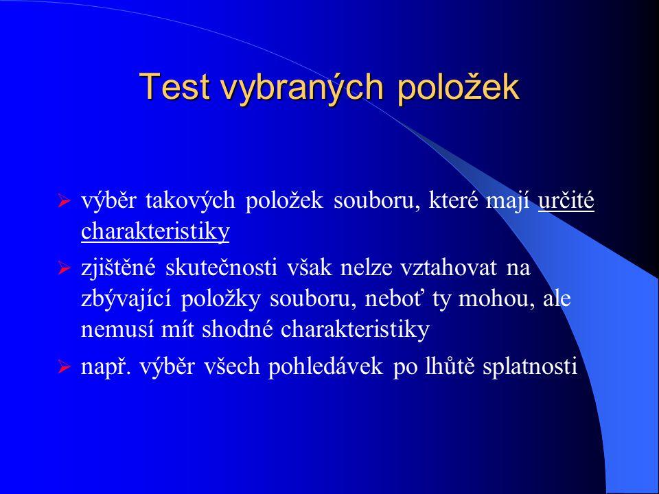 Test vybraných položek