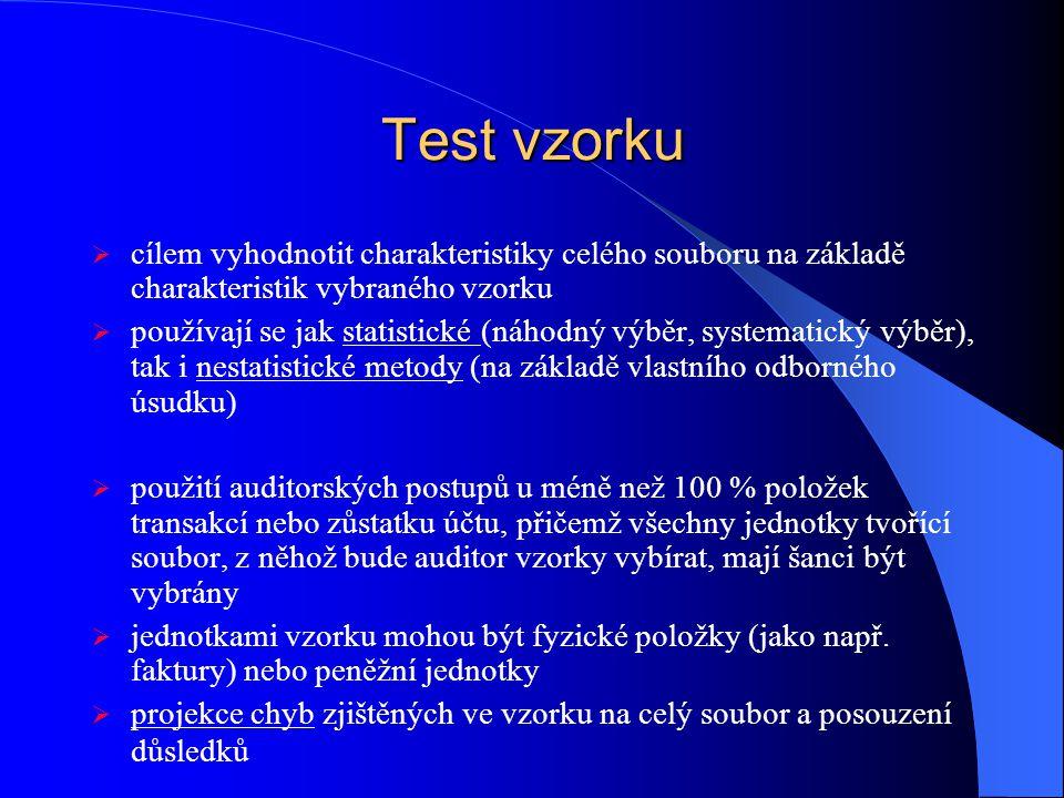 Test vzorku cílem vyhodnotit charakteristiky celého souboru na základě charakteristik vybraného vzorku.