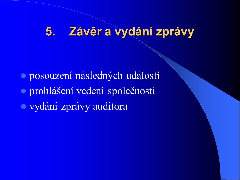 5. Závěr a vydání zprávy posouzení následných událostí