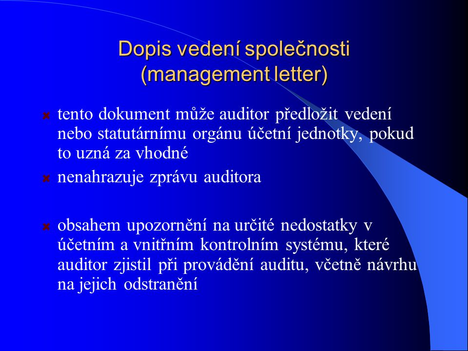 Dopis vedení společnosti (management letter)