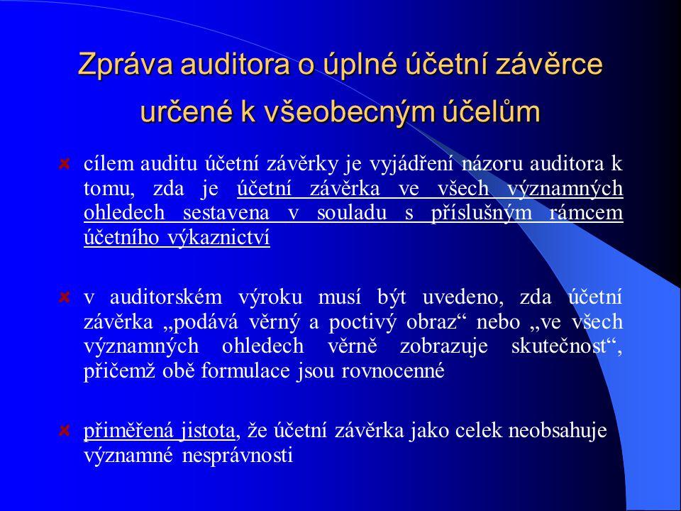 Zpráva auditora o úplné účetní závěrce určené k všeobecným účelům