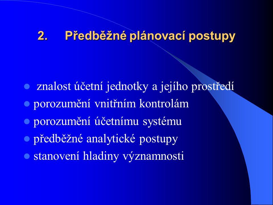 2. Předběžné plánovací postupy