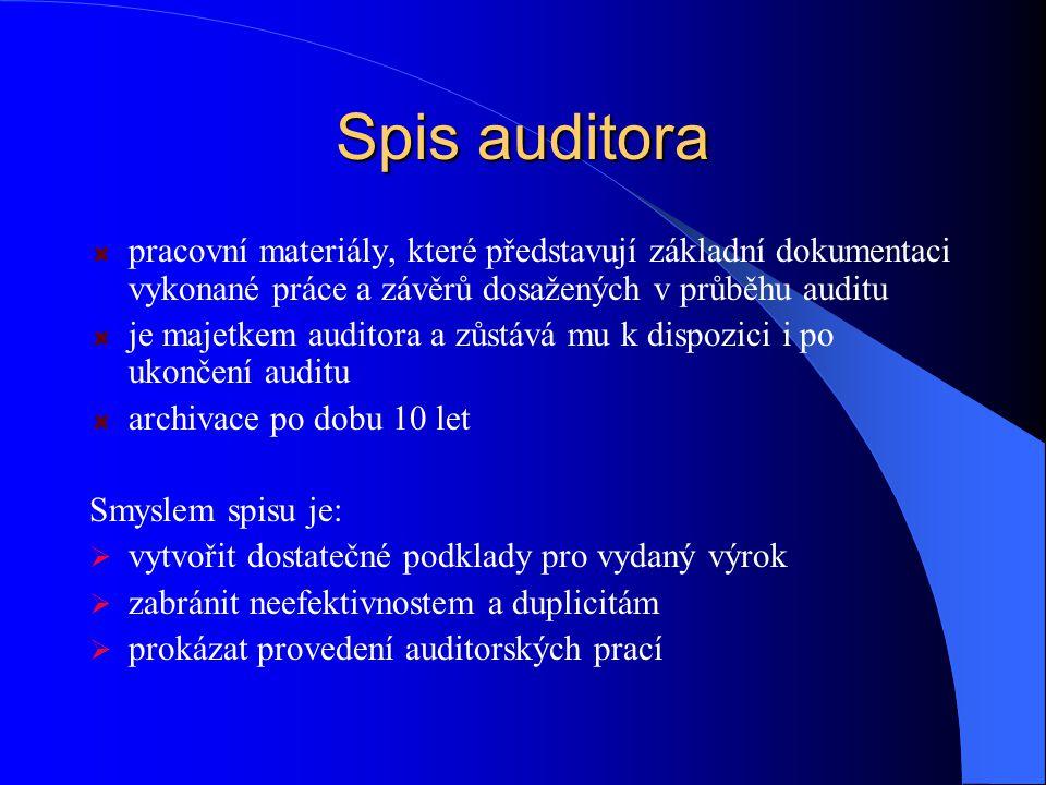 Spis auditora pracovní materiály, které představují základní dokumentaci vykonané práce a závěrů dosažených v průběhu auditu.