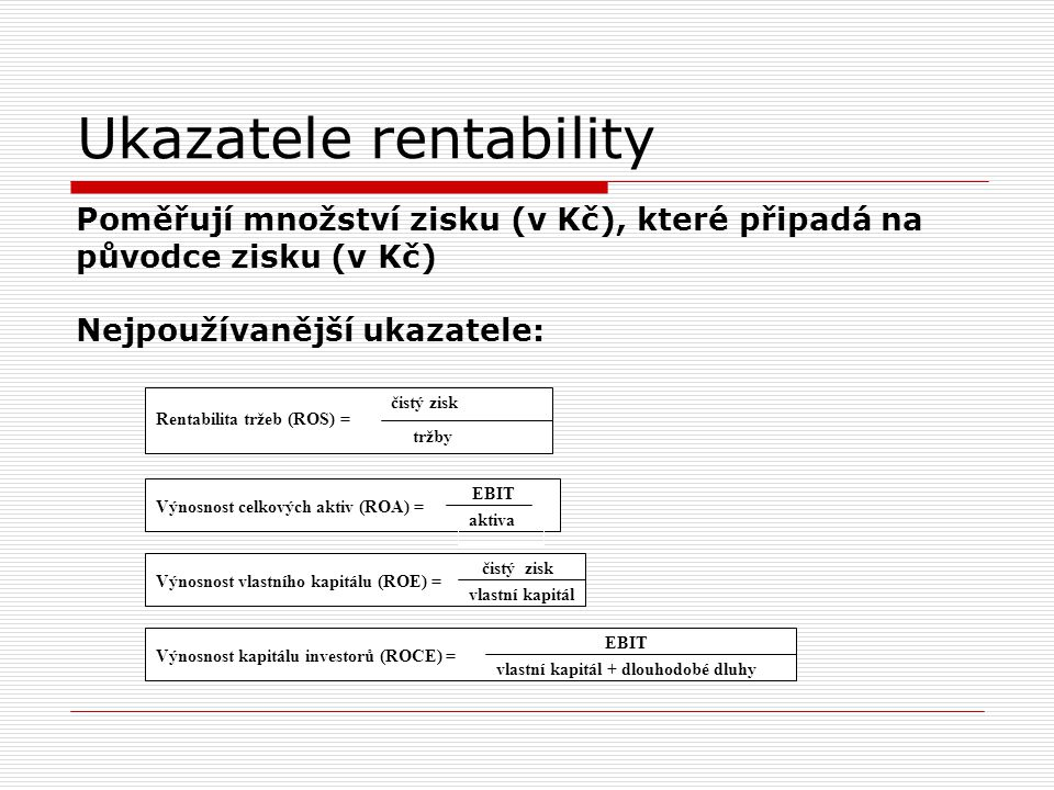 Ukazatele rentability