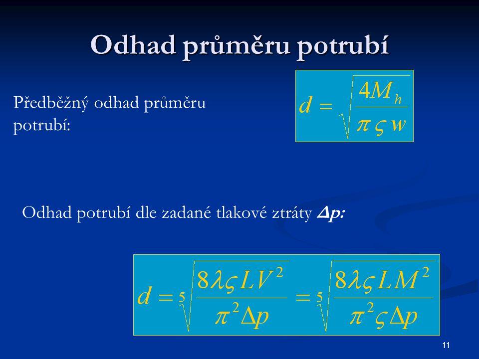 Odhad průměru potrubí Předběžný odhad průměru potrubí: