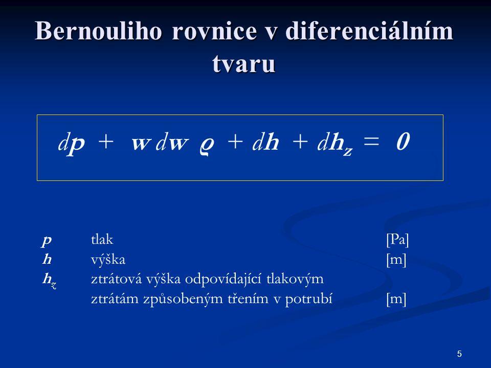 Bernouliho rovnice v diferenciálním tvaru
