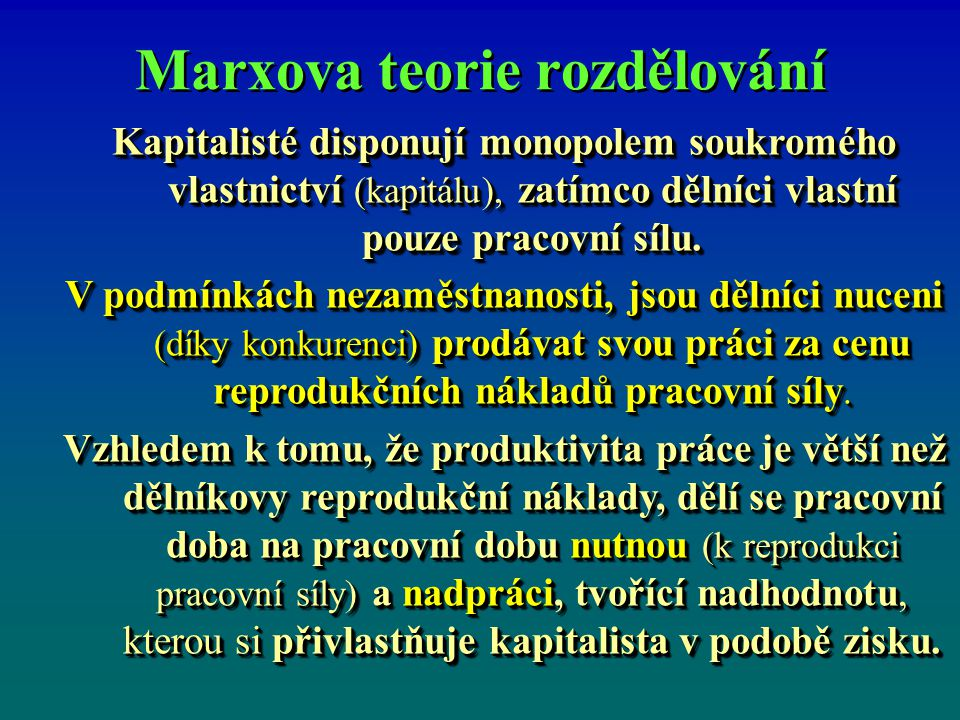 Marxova teorie rozdělování