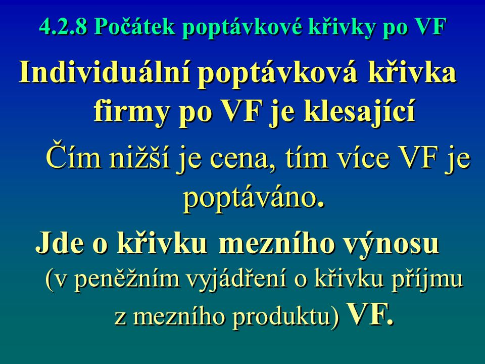 4.2.8 Počátek poptávkové křivky po VF